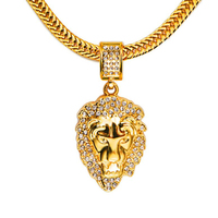 Fashion Hip Hop Rhinestone Crystal Iced Out Lion Head Pendants Necklaces Men Women Bling Charm Curb