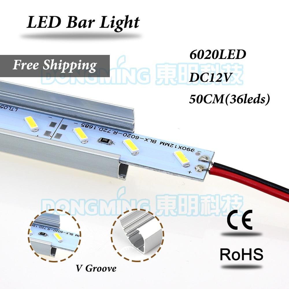 Aluminium V profile LED bar light 6020 SMD DC 12V LED luces strip 50cm 36leds for kitchen wardrobe cupboard cold/warm white