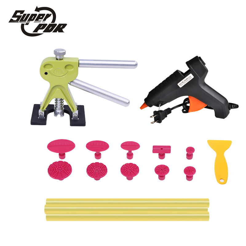 Super PDR tools dent puller Paintless Dent repair hand tools PDR puller glue gun glue tabs dent removal Car Body Repair Kit super pdr car dent repair tools pulling bridge glue puller glue gun dent tabs hand tool set 39pcs dent removal tools kit