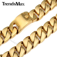 Trendsmax 31MM Super Heavy Thick Mens Chain Flat Round Curb Cuban Gold Tone 316L Stainless Steel Necklace Length HN29