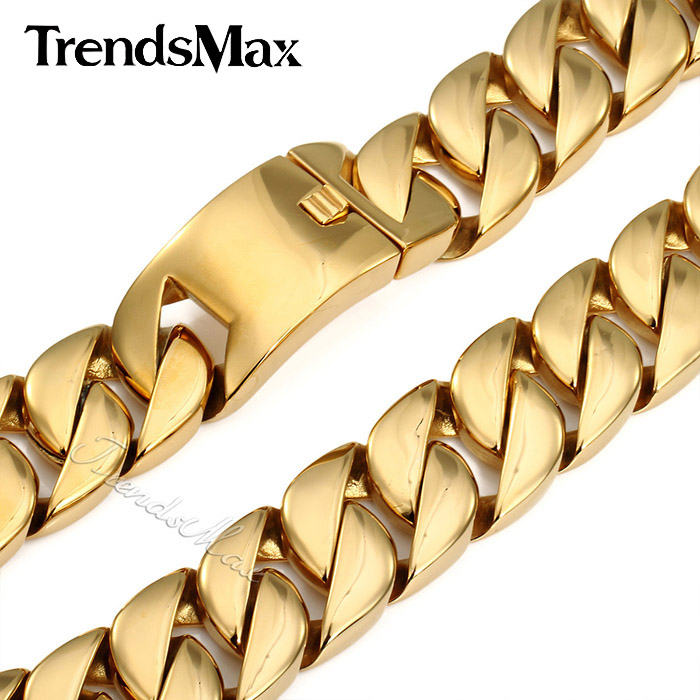 Trendsmax 31MM Super Heavy Thick Mens Chain Flat Round Curb Cuban Gold Tone 316L Stainless Steel Necklace Custom Length HN29