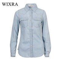 Wixra Fashion Cotton Denim Women Blouses Long Sleeve Shirts Women Tops Jeans Blouse Female Casual Women