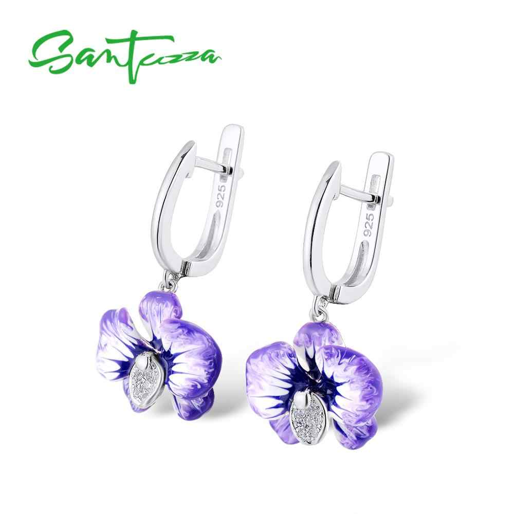 SANTUZZA เงินชุดเครื่องประดับสำหรับสตรีสีม่วงดอกไม้ต่างหูแหวน 925 เงินสเตอร์ลิง CHIC แฟชั่นเครื่องประดับทำด้วยมือเคลือบ