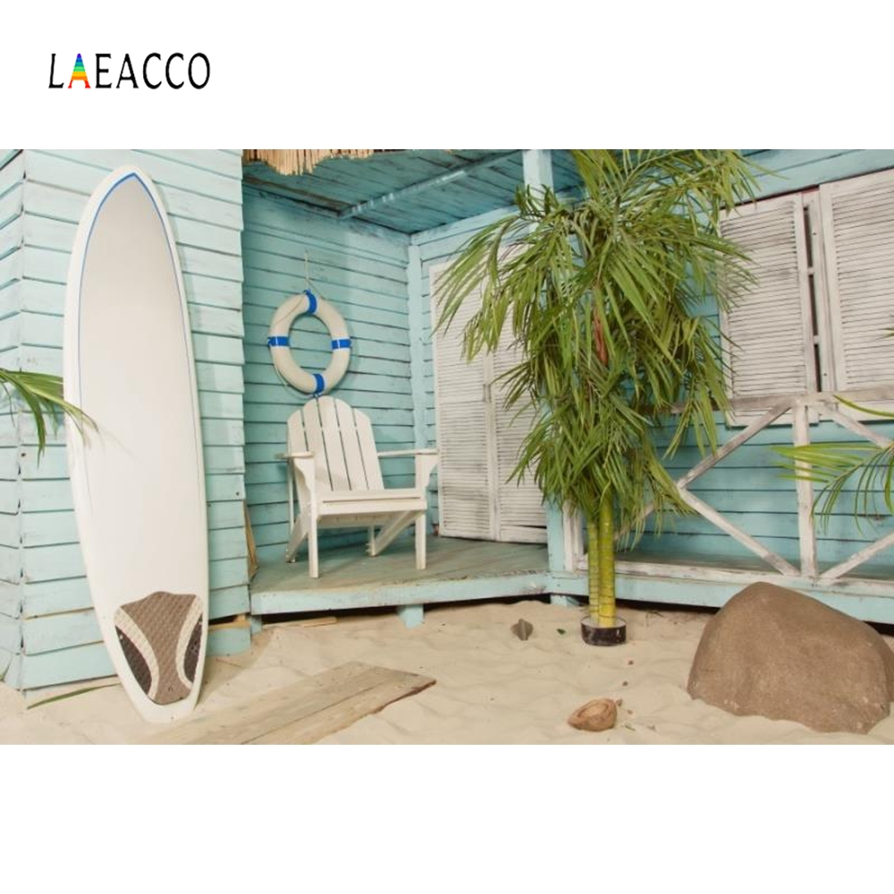 Laeacco Wooden House Palm Tree Surfboard Portrait Photography Backgrounds Customized Photographic Backdrops for Photo Studio in Background from Consumer Electronics