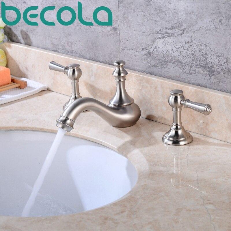 Смеситель для ванной комнаты becola, матовый никелевый кран с двойной ручкой, комплект из 3 предметов, смеситель для горячей и холодной воды,