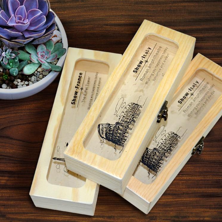 Luova erityinen persoonallinen kynänkotelo puun säilytyslaatikko konttihanke laatikko Järjestäjät Utility veitsi