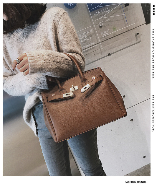 New Quality Leather Women's Luxury Handbag Large Portable Shoulder