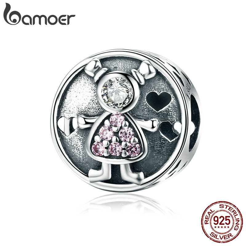 BAMOER Genuine 925 Sterling Silver Lovely Child Baby Sweet Family Charm Beads fit Charm Bracelet for Women DIY Jewelry SCC542 sweet beads layered flower bracelet for women