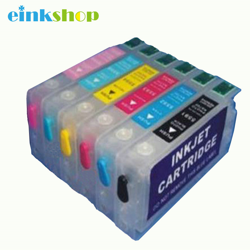 1Set Empty Refillable Ink Cartridge For Epson T05591 - T05596 RX700 With ARC Chip