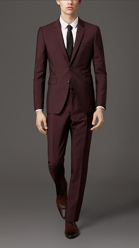 Burgundy Slim Fit Suit Jacket | My Dress Tip
