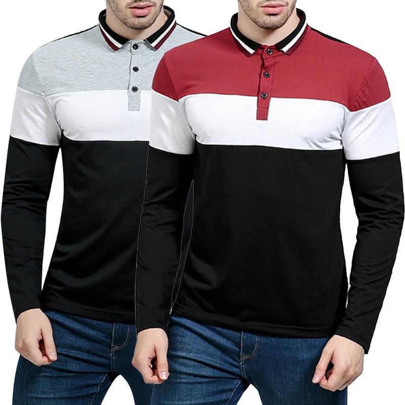 Men/'s T-Shirts Long Sleeve Tshirt Stripe Slim Blouse Business Casual Shirts Tops