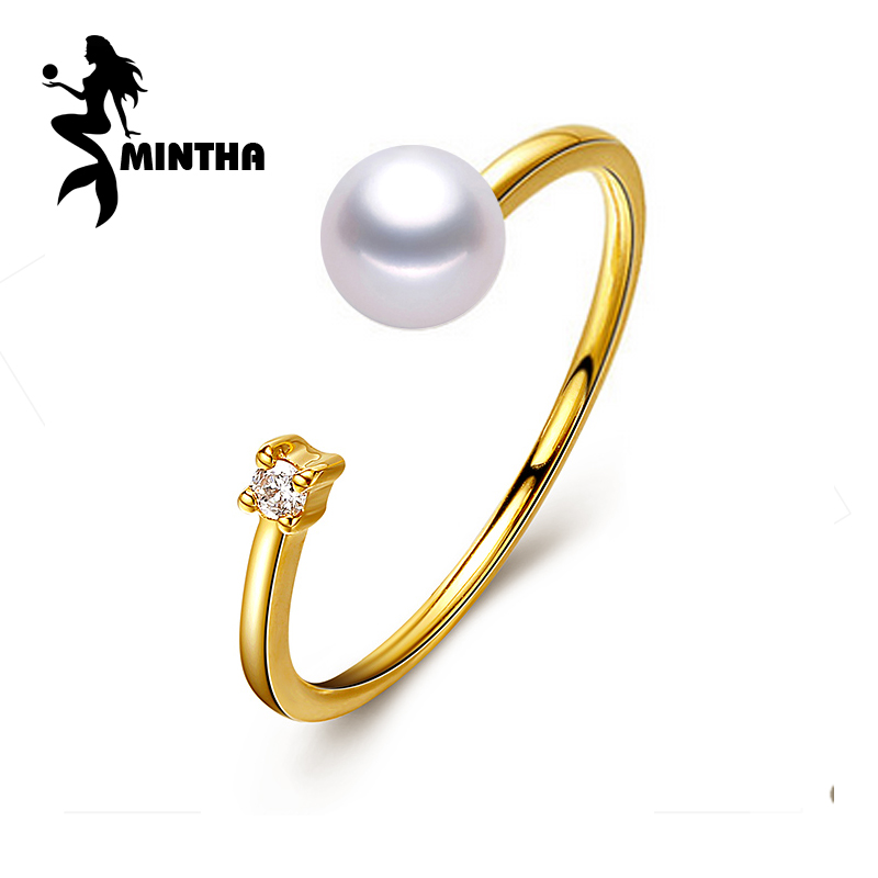 MINTHA brand 18K yellow gold ring ,6-7mm round natural pearl ring for love ,fine pearl jewelry bridal stone wedding bands daimi 925 silver ring brand design genuine pearl ring 6 7mm