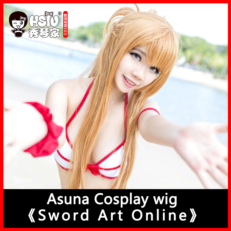 HSIU 100cm lång peruk Sword Art Online Cosplay Wig Asuna Kostymer Spela Parycken Halloween Party Anime Game Hair High Quality