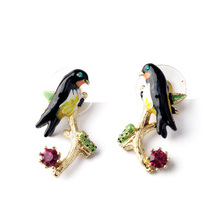 Gold Plated Branch Swallows Earrings Crystal Stud For Women Big Pendants Enamel Cute Fashion Freedom Animal