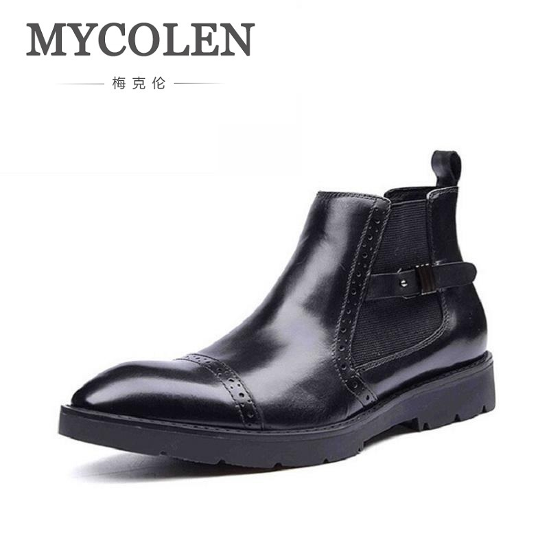 MYCOLEN Men Winter Genuine Leather Motorcycle Boots 2018 British Retro Black Casual Shoes Brand Buckle Boots Chaussure Homme