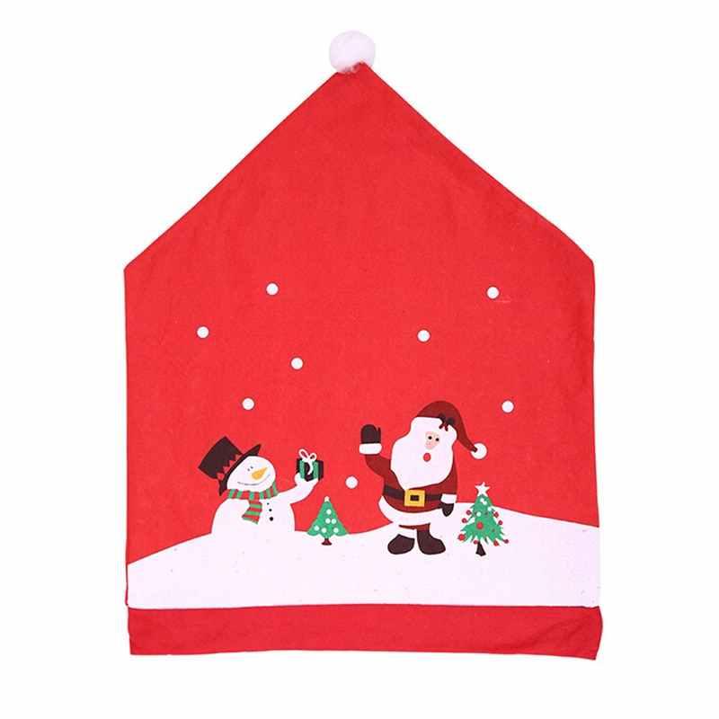 נשלף סנטה אדום כובע כיסא מכסה חג המולד קישוטי כיסא ארוחת ערב חג המולד כובע סטי מתקפל מלון כיסא כיסוי עבור בית דצמבר