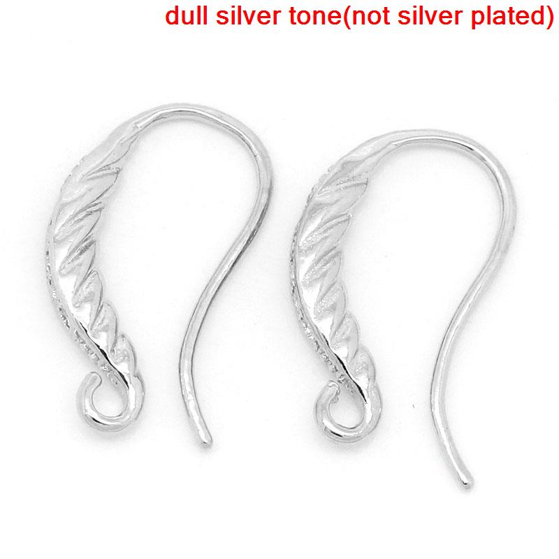 DoreenBeads Copper Earring Components Earring Findings Silver Tone Stripe Pattern 18mm( 6/8