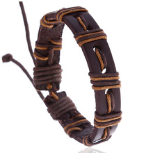 European American New Mens Jewelry Vintage Simple Handmade Woven Leather Adjustable Bracelet Student Fashion Accessories