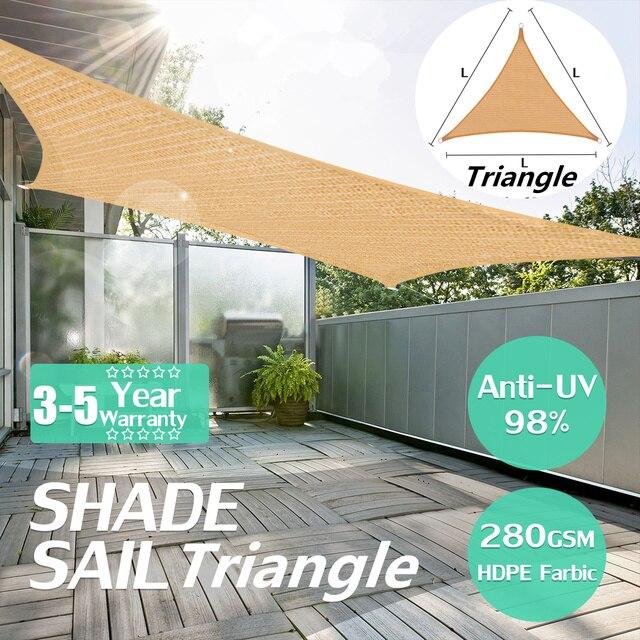 4x4x4m Heavy Duty Sun Shade Sail Outdoor Triangle Awning Canopy