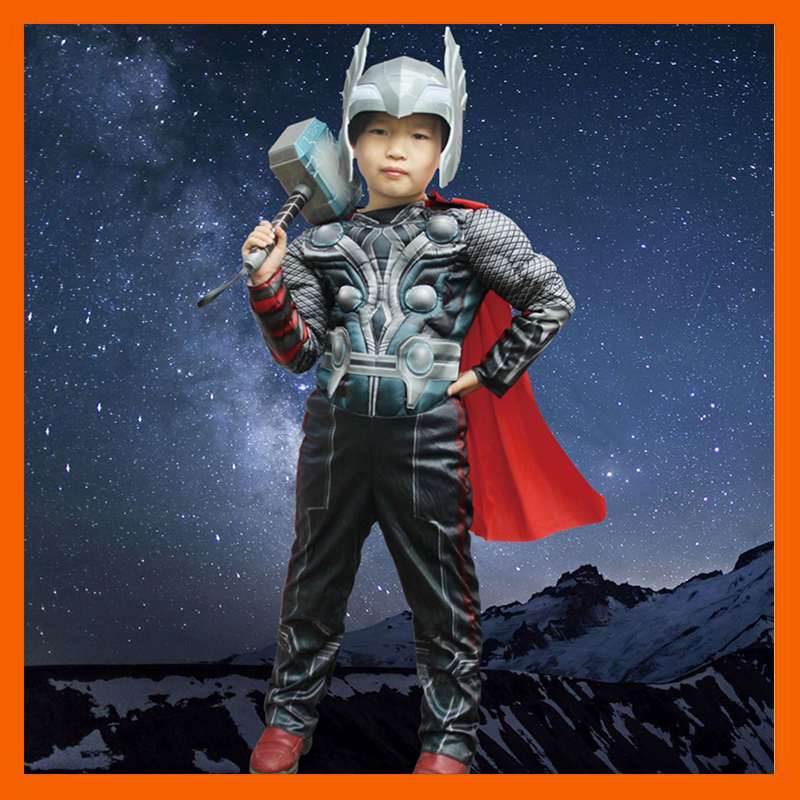 FACTORY DIRECT SELLING THE AVENGERS THOR CLASSIC MUSCLE COSPLAY CHILD BOYS HALLOWEEN CARNIVAL COSTUMES KIDS FANTASIA DRESS