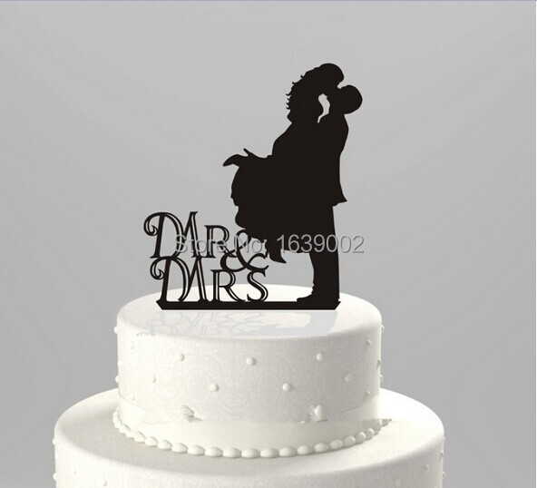 Us 10 29 Sweet Kissing Silhouette Groom And Bride Wedding Acrylic Cake Topper Wholesale In Cake Decorating Supplies From Home Garden On