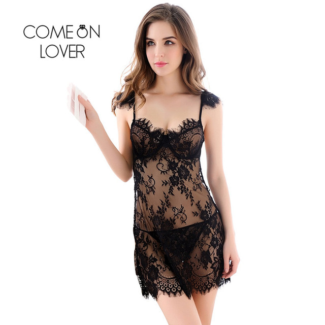RI80246 Comeonlover Light Green Red Black Transparent Nightwear Lace Babydoll Brilliant Beauty Babydoll Chemise Sexy Costumes