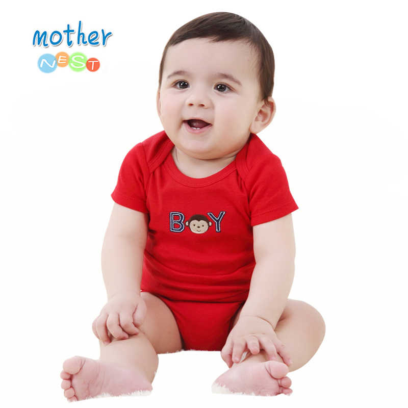 Summer 2018 Baby Romper Red Monkey Embroidered Baby Boy Clothes Newborn Baby Romper Short Sleeve Underwear Cotton Costume