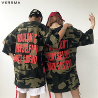 VERSMA 2017 Korean Instagram Style Harajuku Ribbon Camouflage T Shirt Men Women Summer Letter Printed Loose