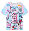 Korean New Women's Harajuku tee shirt femme Colorful Letter Floral T-Shirt Casual Cartoon Zipper Loose Tops Short Sleeve
