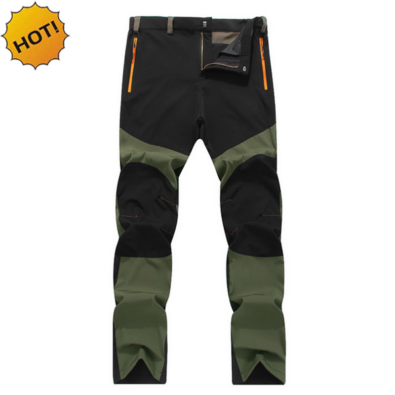 HOT2017 Outdoors Summer Elastic Waist Wear-resisting Waterproof Thin Patchwork Sweat Tactical Combat Army Cargo Travel Pants Men