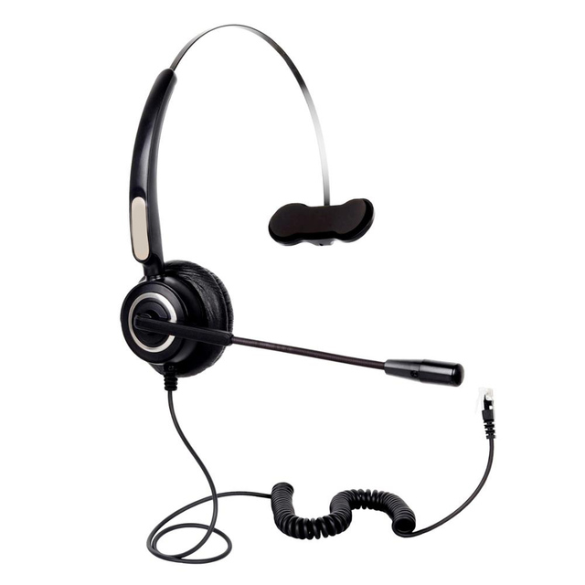 RJ9 Mono Wired Headset With Mic Headband Telephone Noise Reduction  Headphone For Office Call Center Customer Service