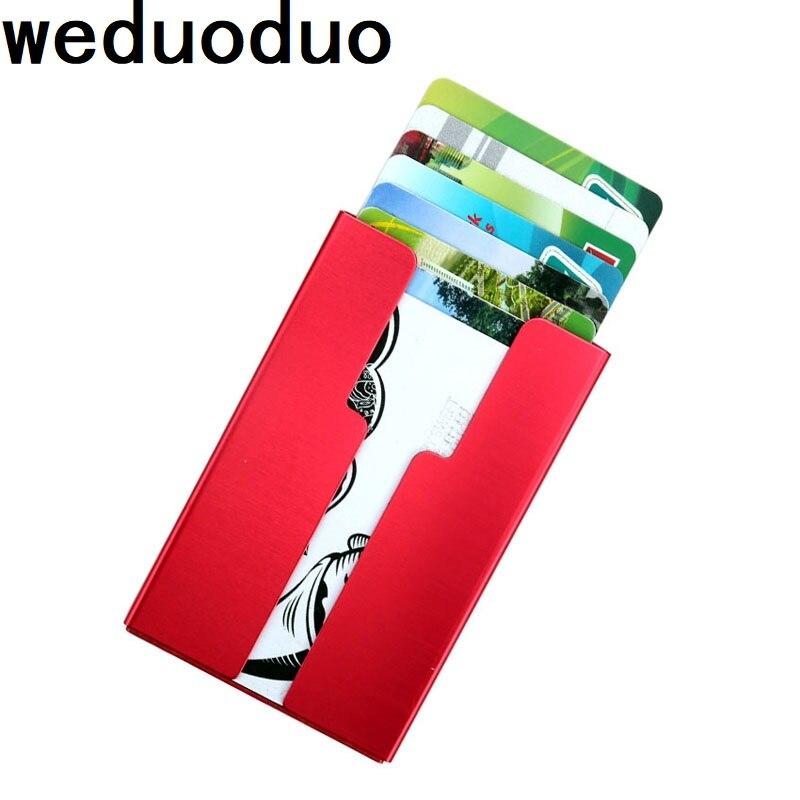 Weduoduo New men Credit Card Holder Solid Color Metal Bank Package Business Case Box Porte Carte