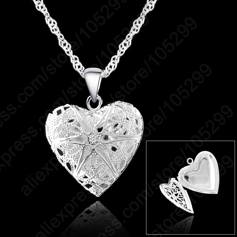 JEXXI One PC Frame Case Picture Necklace 925 Sterling Silver Jewelry Heart Pendant Necklaces +18 inches Singapore Chain