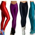 2017 New Fashion Women Shiny Leggings V High Waist Candy Colors Polyester Sportswear Workout Luster Jegging Legging femme Pants