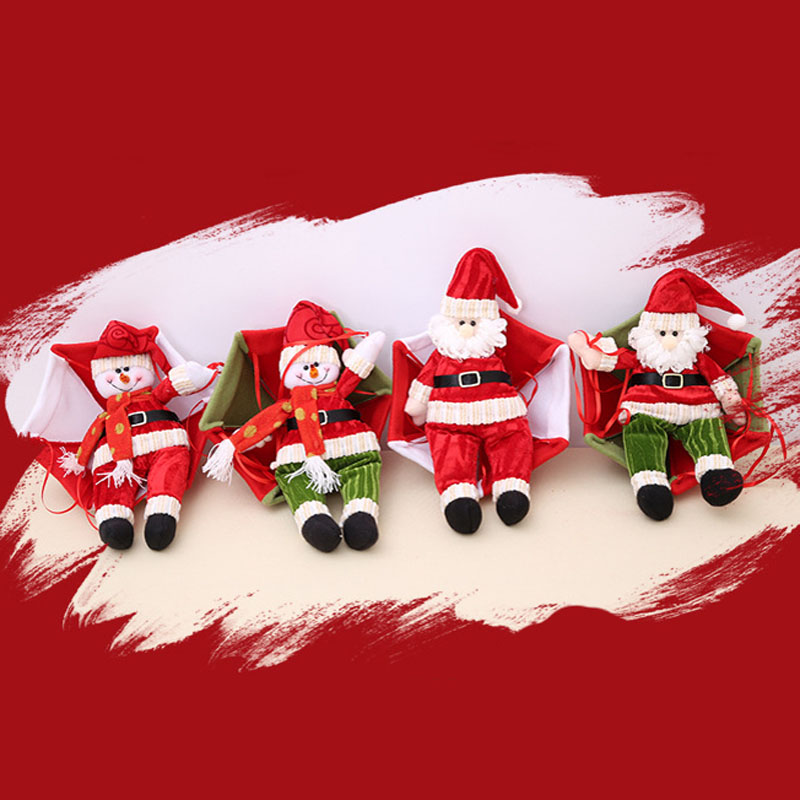 Christmas Home Ceiling Decorations Parachute 30cm Santa Claus Smowman New Year Hanging Pendant Decoration Supplies In Drop Ornaments
