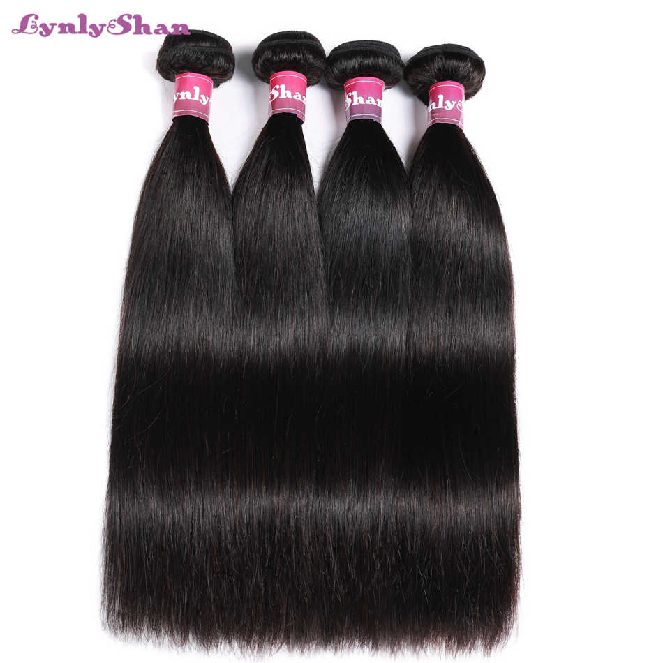 "Lynlyshan Human Hair Brazilian Straight Hair Wave Bundles 10""-30"" Inch Natural Color 4 PCS Remy Hair Free Shipping"