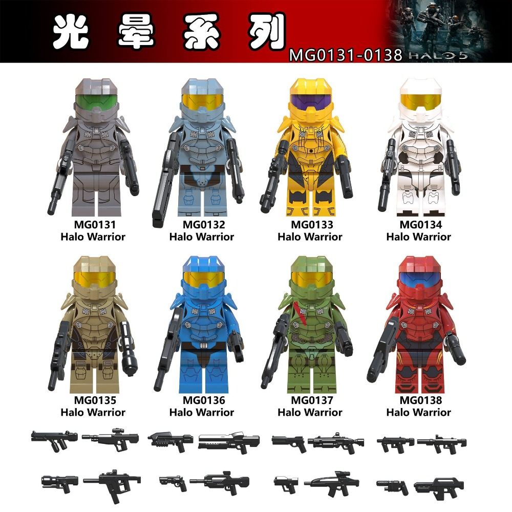 80PCS Battle Royale Sand Halo Spartan Solider With Weapon War Game Action Figures Building Blocks Children