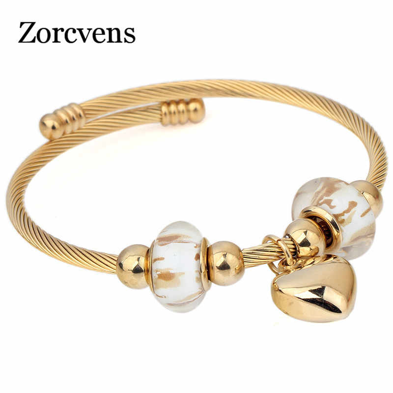 ZORCVENS Stainless Steel Heart Charm Pattern European Murano Glass Glass Cross Twisted Cable Wire Bracelets bangles For Women