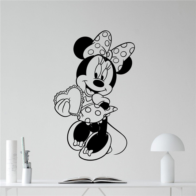 Minnie Mouse Vinyl Wall Decal Girl Kids Cute Heart Love Gift Mickey Mouse Cartoons Baby Girl Boy Kids Room Wall Sticker-in Wall Stickers from Home u0026 Garden ...  sc 1 st  AliExpress.com & Minnie Mouse Vinyl Wall Decal Girl Kids Cute Heart Love Gift Mickey ...