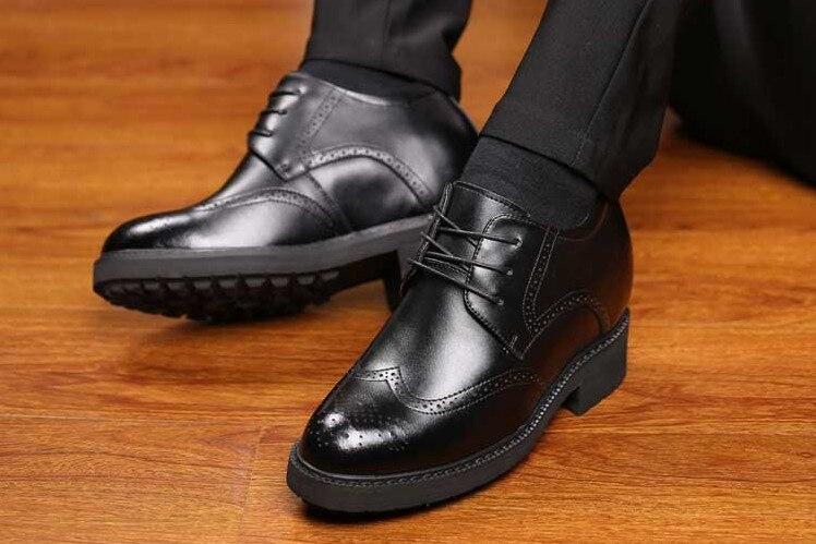 12 cm Extra di Alta Scarpe Ascensore Uomini Scarpe Ascensore Altezza Crescente Casual In Crosta di Cuoio delle Scarpe Da Lavoro Tacco a Zeppa Nascosta Da Sposa di Sesso Maschile scarpe - 5