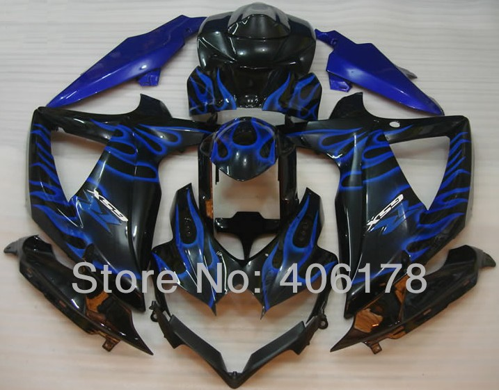 Hot Sales,K8 GSX R ABS plastic Fairing For Suzuki GSXR600 GSXR750 2008-2010 Blue Flame B ...