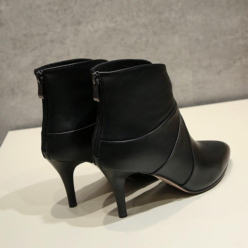 À Chaussures 2017 Hauts Cheville Sexy Véritable Qualité Femmes Cuir De Haute Bottes Glissière Mince Au Ft212 Dos Noir Phoentin En Talons Boot DI9WEH2