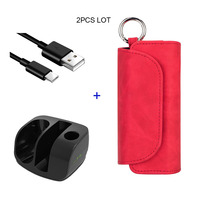 JINXINGCHENG 4 Colors Flip Double Book Cover for Iqos 3.0 Case Pouch Bag Holder Leather Case with Charger for Iqos 3 Charging