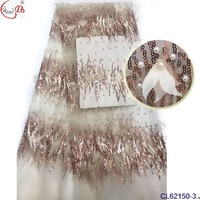 5yards high grade 3d flowers embroidered african lace fabric for wedding dresses 3D handmade flowers chiffon french lace mesh