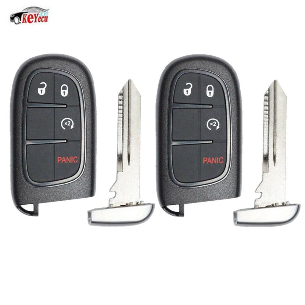 KEYECU 2 Pcs/lot démarrage à distance Smart voiture clé Fob 4 bouton 433 MHz ID46 puce pour Ram 1500, 2500, 3500 2013-2019-GQ4-54T