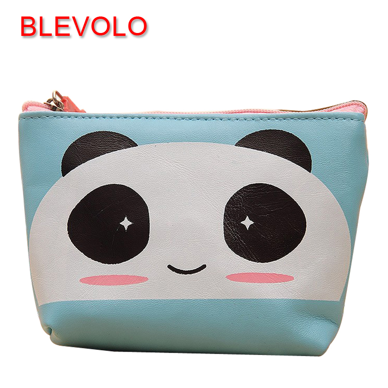 BLEVOLO Cute Cartoon PU Women Coin Purse Girl Zipper Plush Panda/ Duck/Bear Zero Wallet Kawaii Children Coin Bag Key Pouch