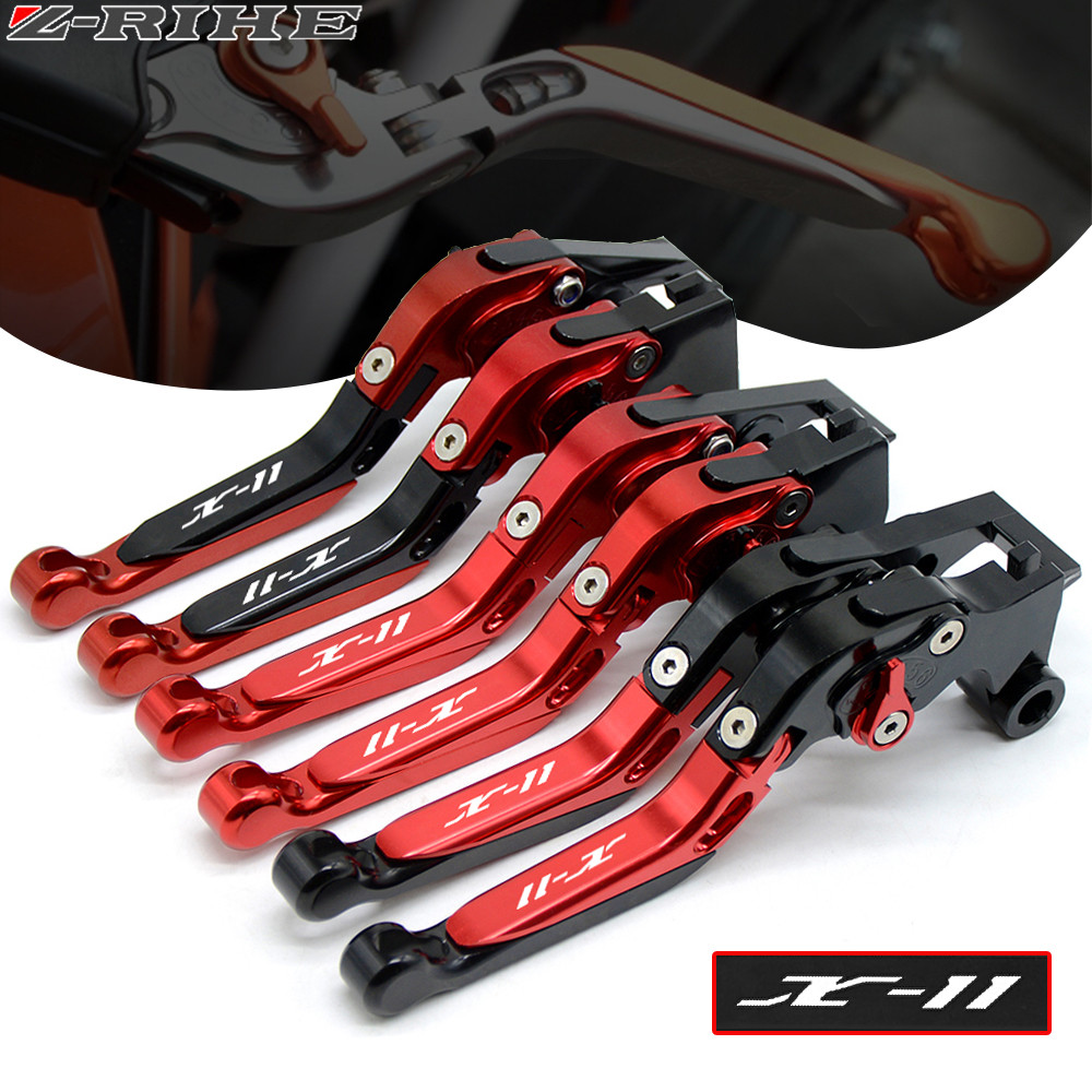 LOGO X-11 For HONDA X11 X-11 X 11 1999 2000 2001 2002 Motorcycle Accessories Folding Extendable Brake Clutch Levers 12 Colors folding extendable brake clutch levers for honda cb919 cb900f hornet 900 2002 2007