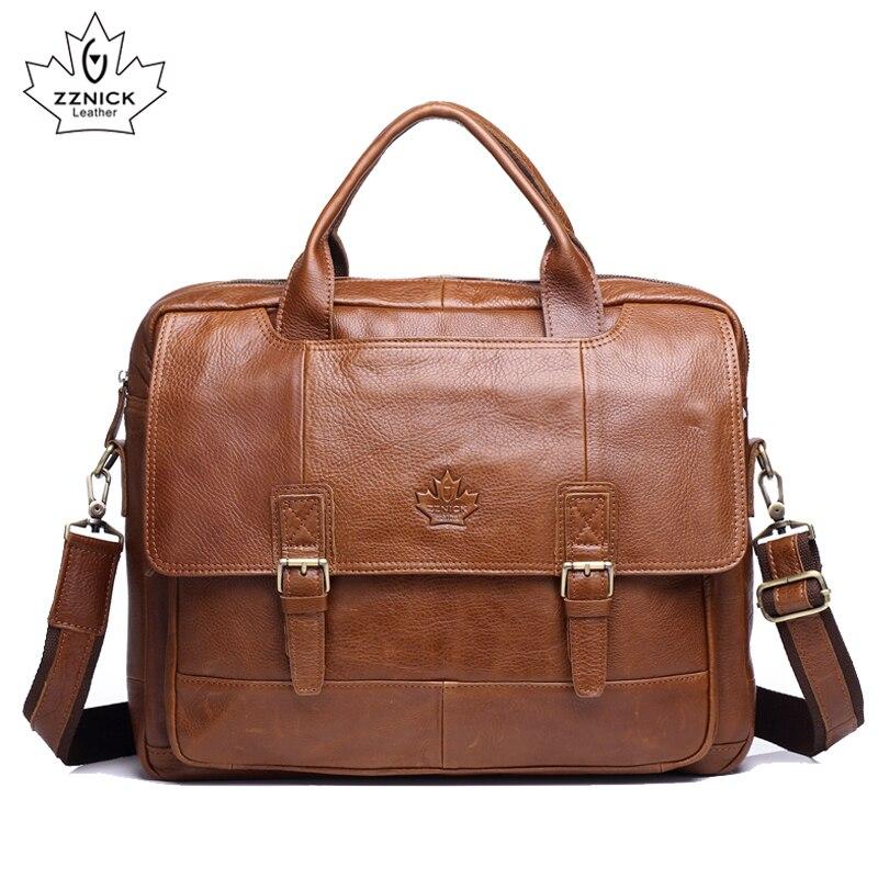 Genuine Cow Leather Briefcases Zipper Design Men Business Fashion Messenger Bags Soft Handle Computer Shoulder Bag