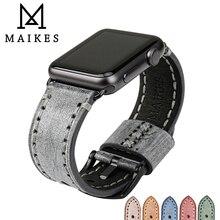 MAIKES skórzany pasek zegarka pasek zegarka pasek zegarka dla Apple watch pasek 42mm 38mm iwatch 4 44mm 40mm nadgarstek seria 4 3 2 1