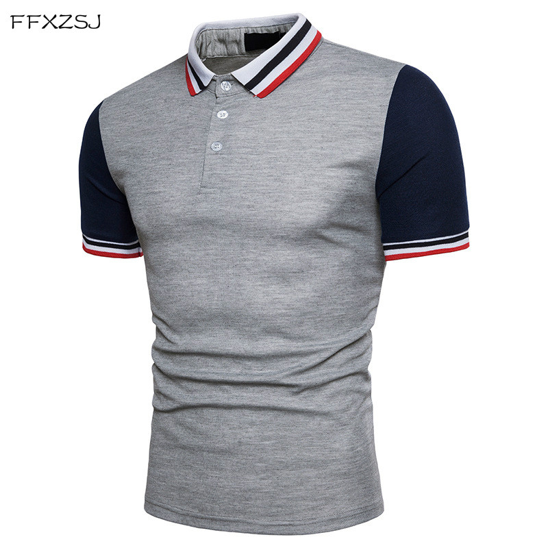 FFXZSJ 2018 high quality summer fashion men's casual simple threaded collar lapel sleeve   POLO   European size